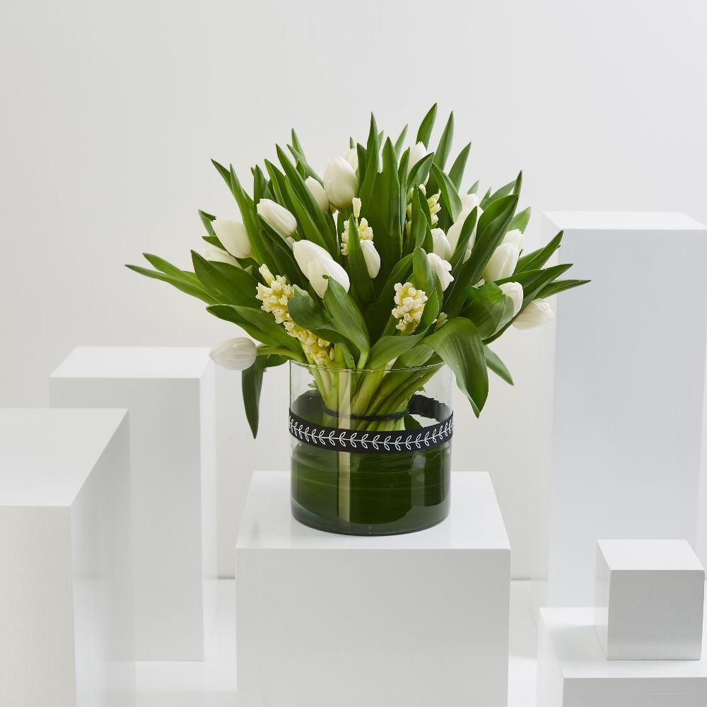 White Hycanith  & White Tulip Cylinder