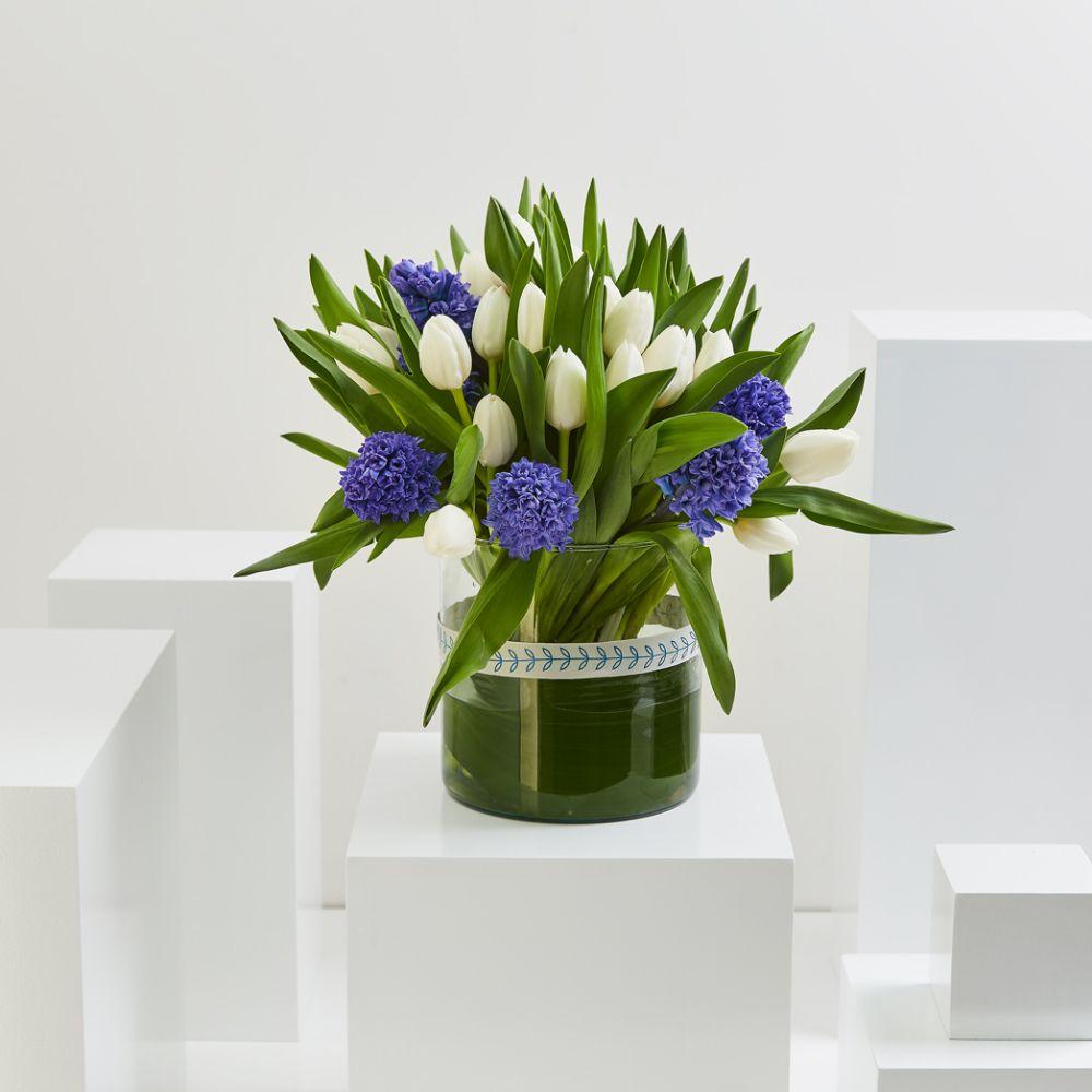 Blue Hyacinth & White Tulip Cylinder
