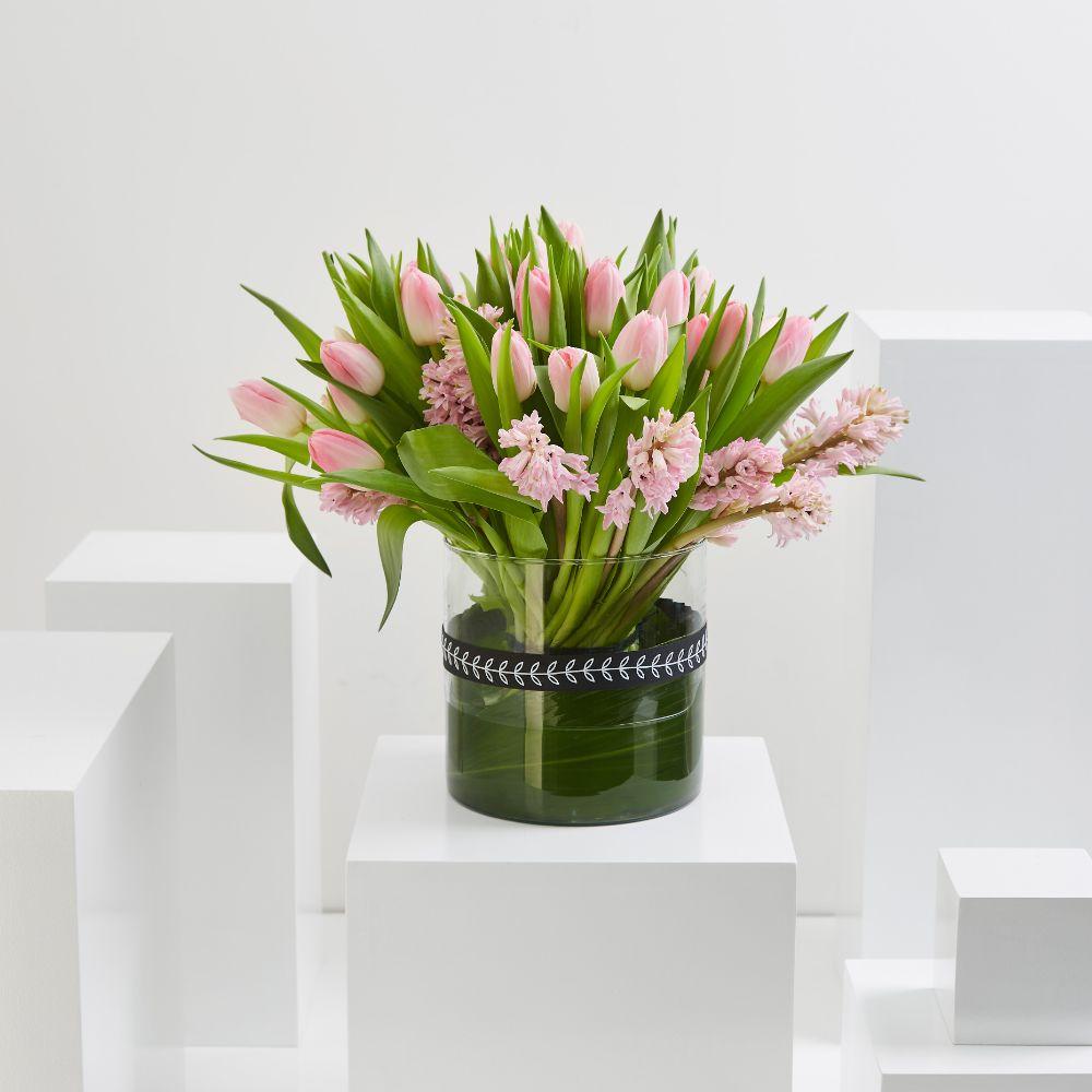 Pink Hyacinth & Pink Tulip Cylinder