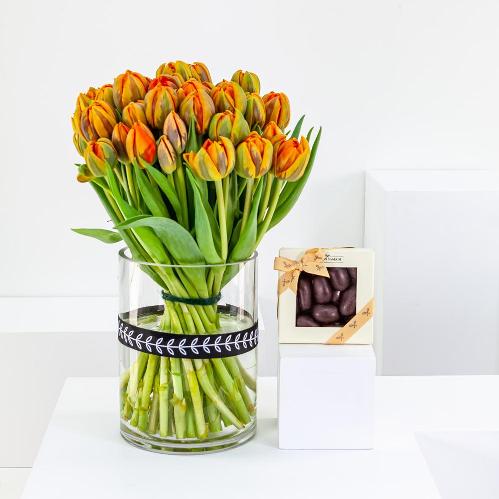 Double Orange Tulip Cylinder with Chocolate Pecans