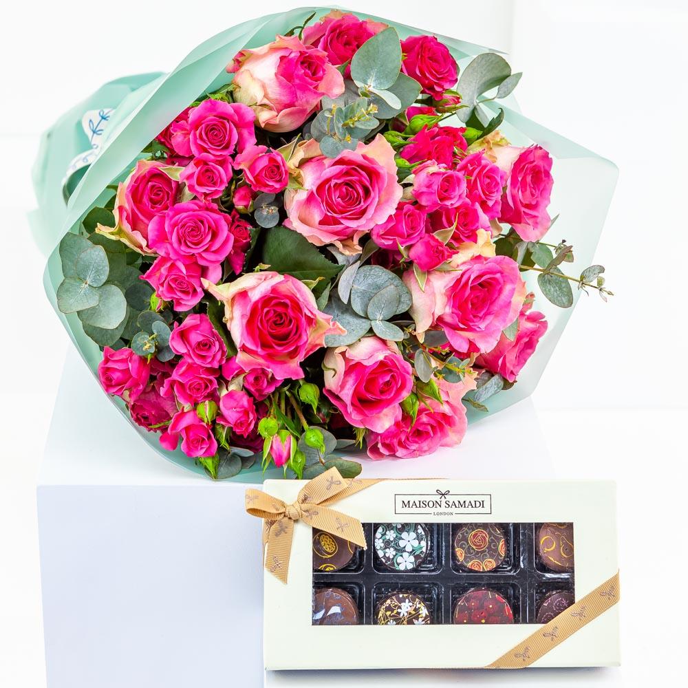 Fuchsia Bouquet with Chocolate