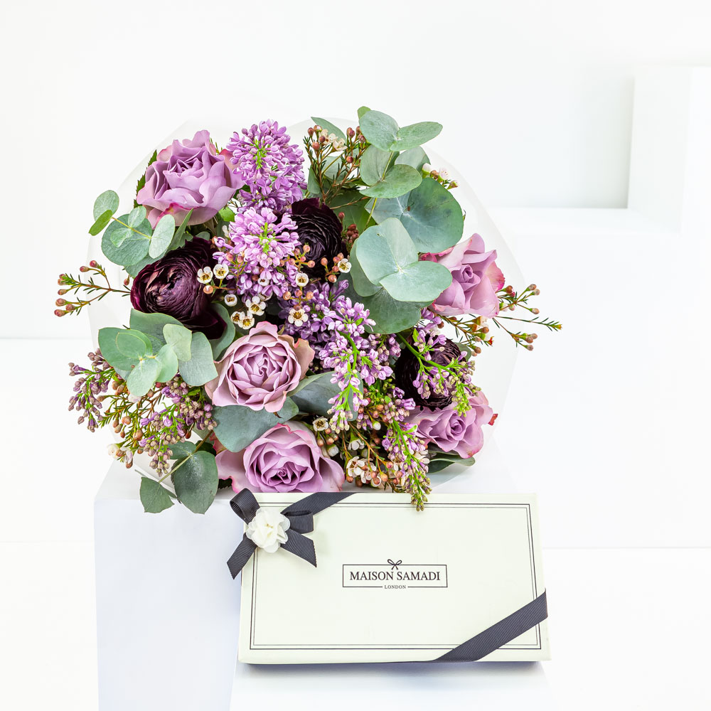 Lilac Rose Bouquet with Dark Chocolate
