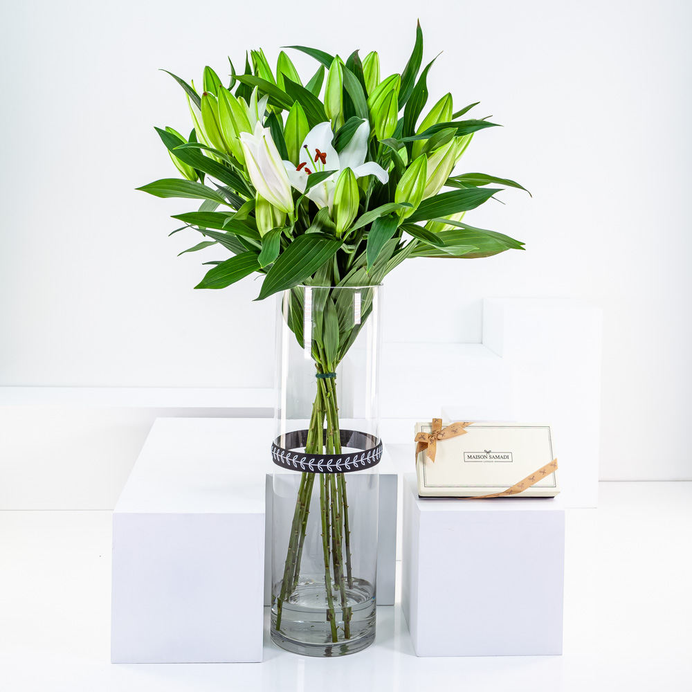 White Lily Cylinder with Chocolate Dates