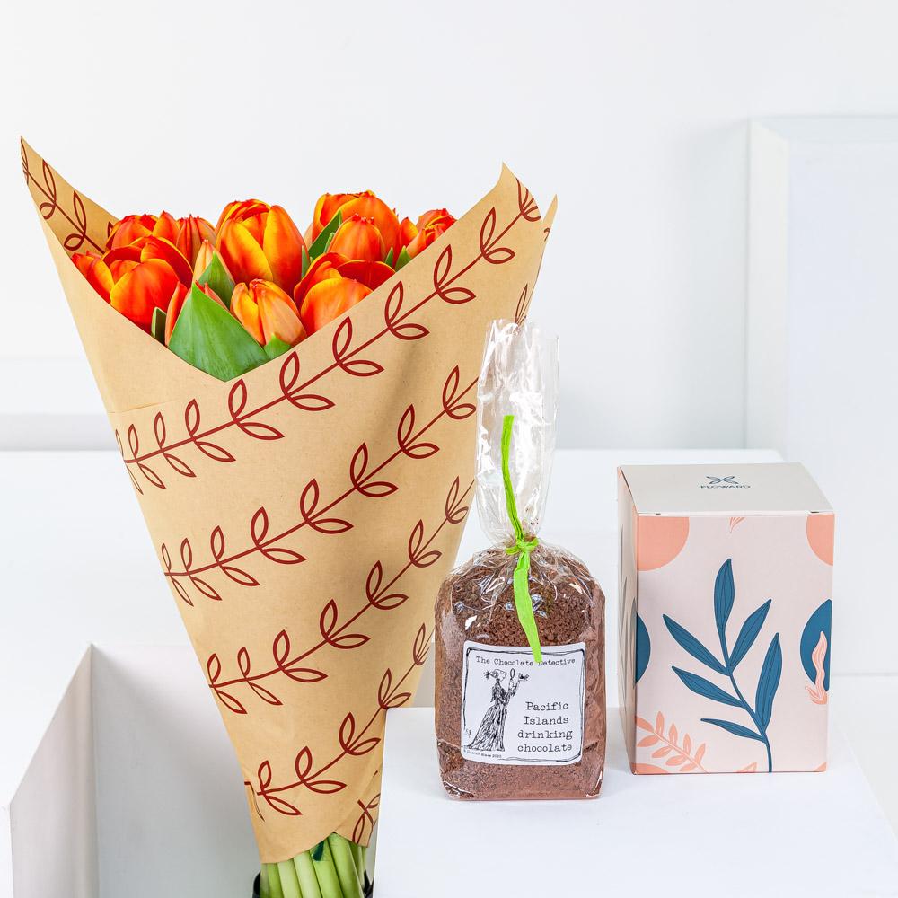 Orange Tulip with Hot Chocolate
